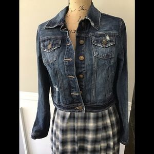 Cropped Distressed Denim Jacket Size Large